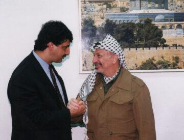 The author Ray Hanania with Palestinian President Yasser Arafat ion Gaza in 2005. Photo courtesy of Ray Hanania